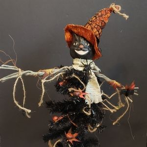 Folk art Halloween black cat scarecrow. Great pre-
